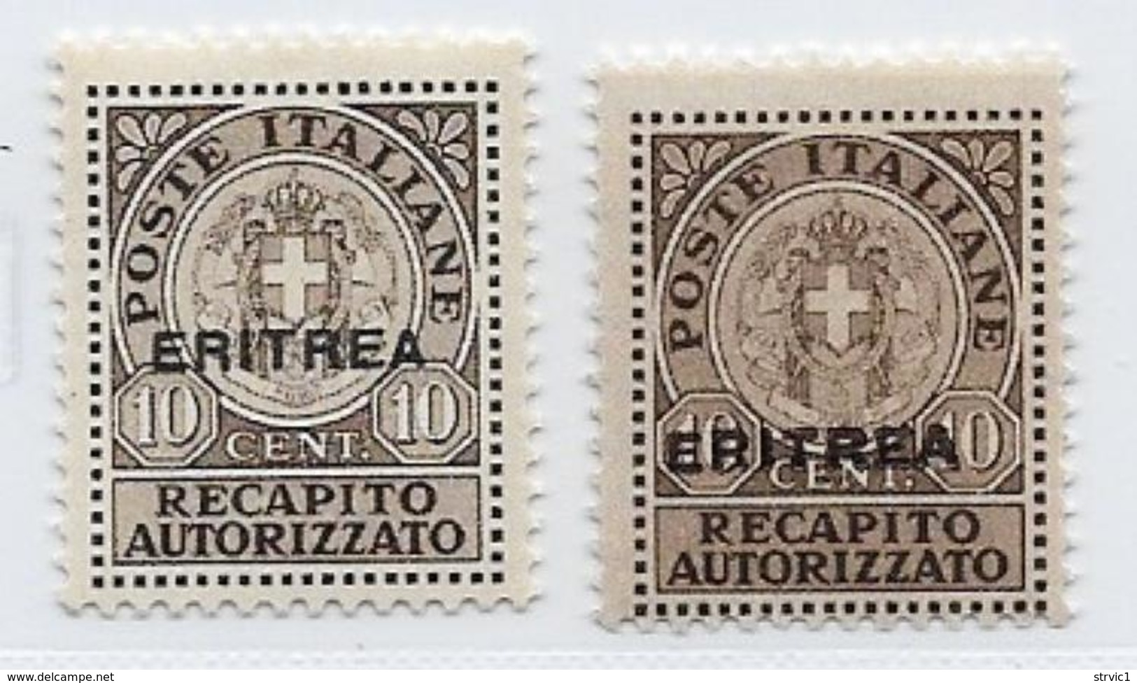 Eritrea Scott # EY1,Ey1a MNH Italy Authorized Delivery,overprinted, 1939,1941, CV$49.50 - Eritrea