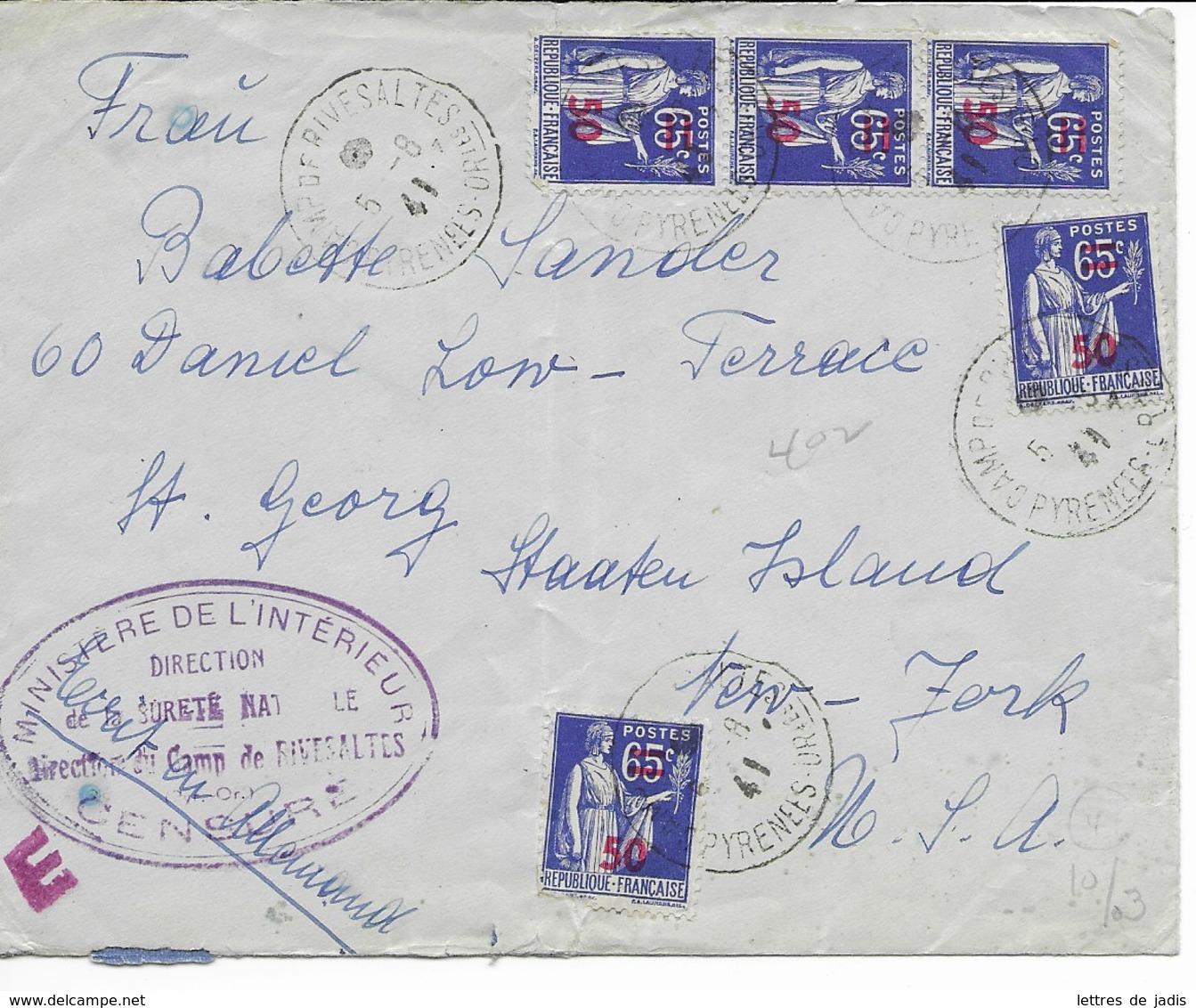 Env Cad CAMP DE RIVESALTES  5/8/1941  Pour Les USA  Cachet Violet Ministere De L'interieur  Censure - Postmark Collection (Covers)