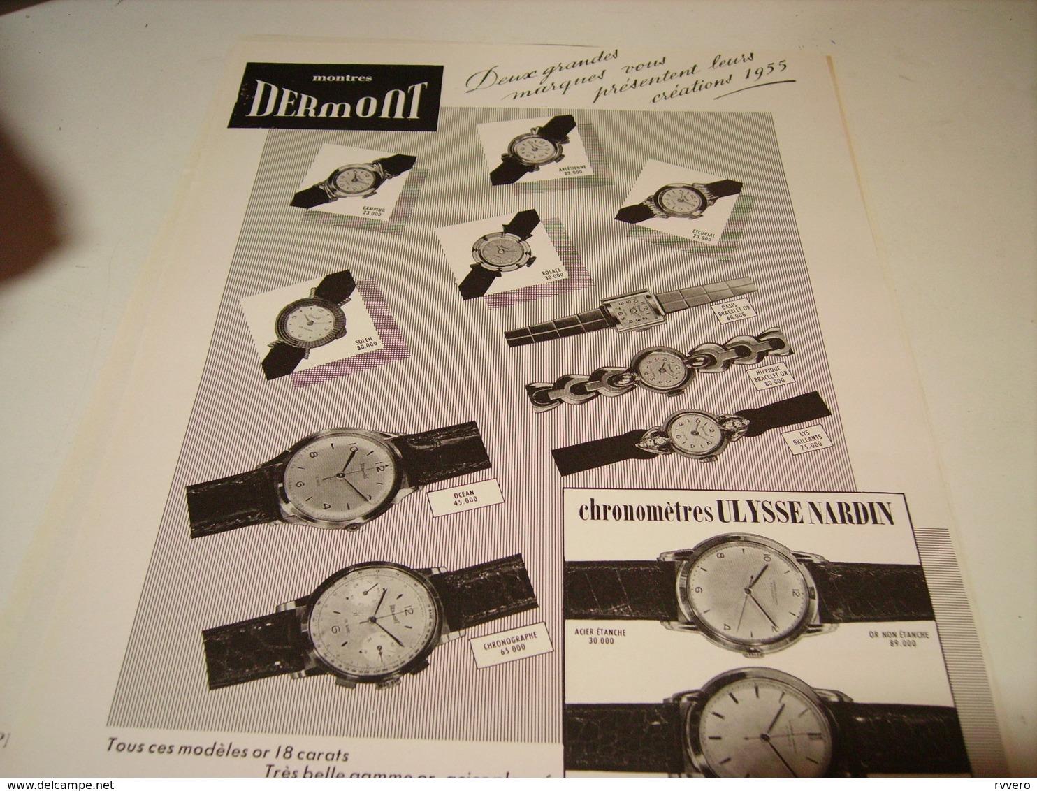 ANCIENNE PUBLICITE MONTRES DERMONT 1954 - Autres