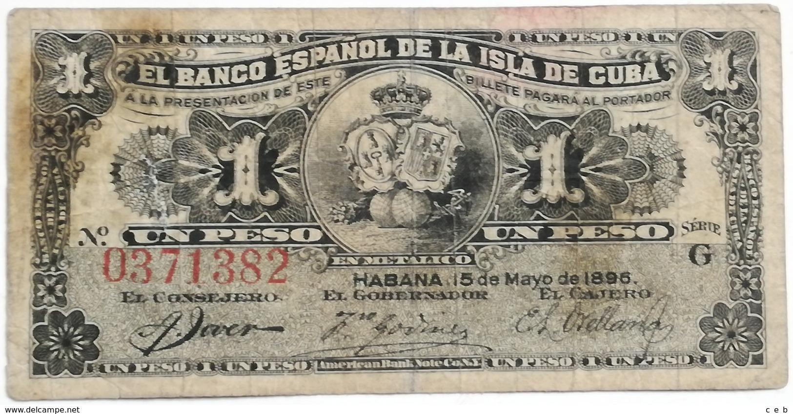 Billete Cuba Española. 1 Peso. 1896. Rey Alfonso XII. La Habana. Serie G - Cuba