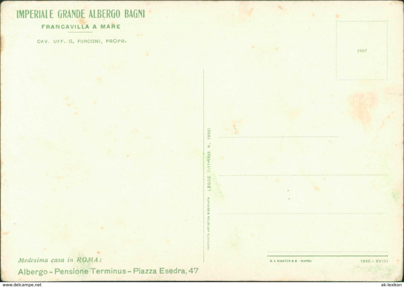 Cartoline Francavilla Al Mare Albergo Pensione Piazza Esedra 1922 - Italie