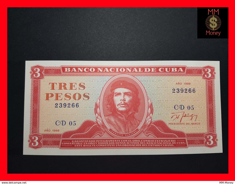 """CUBA 3 Pesos 1988  P. 107  UNC """"CHE"""" - Cuba"""