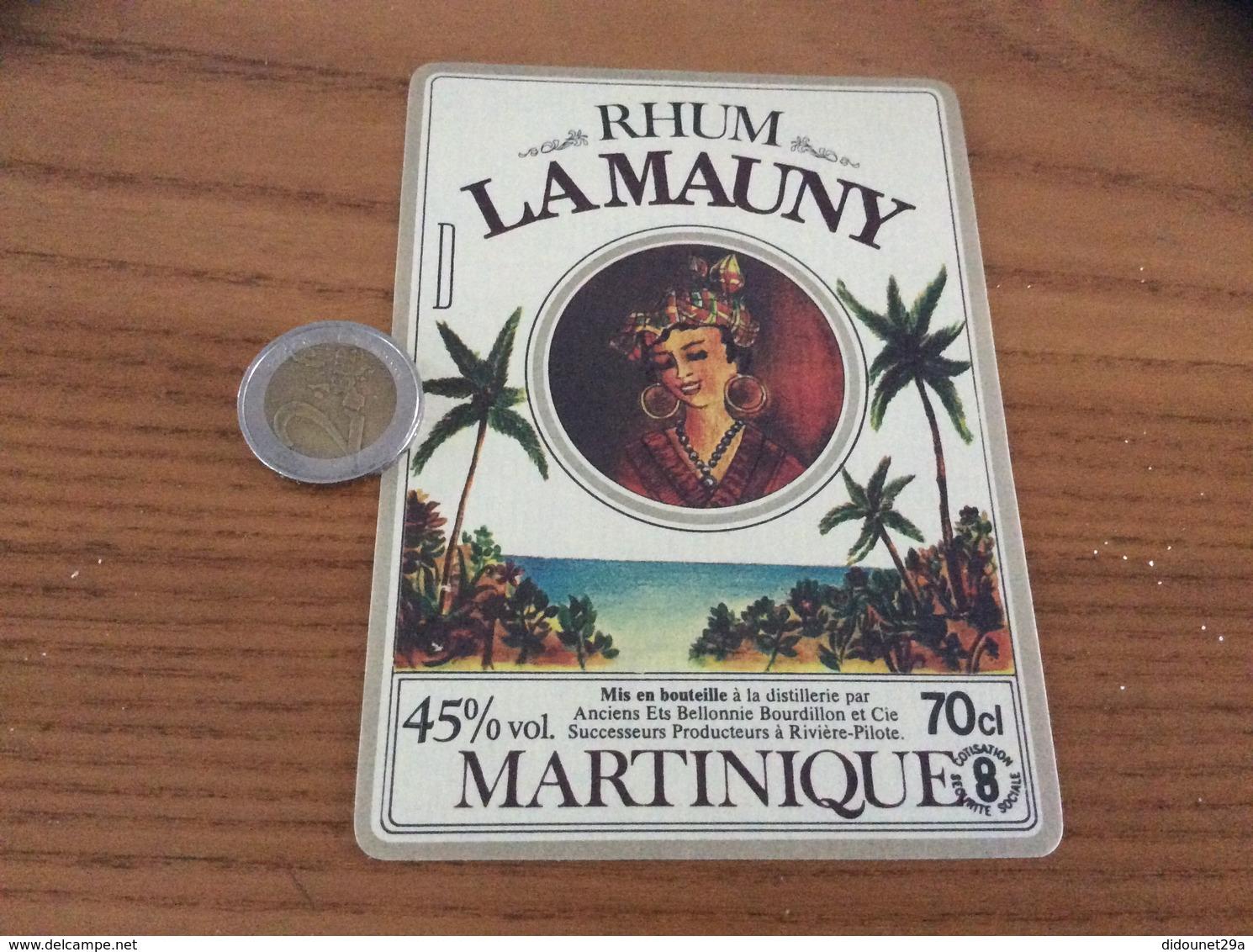 Etiquette 45% «RHUM - LA MAUNY - MARTINIQUE - Anciens Ets Bellonnie Bourdillon Et Cie - Rivière-Pilote» - Rhum