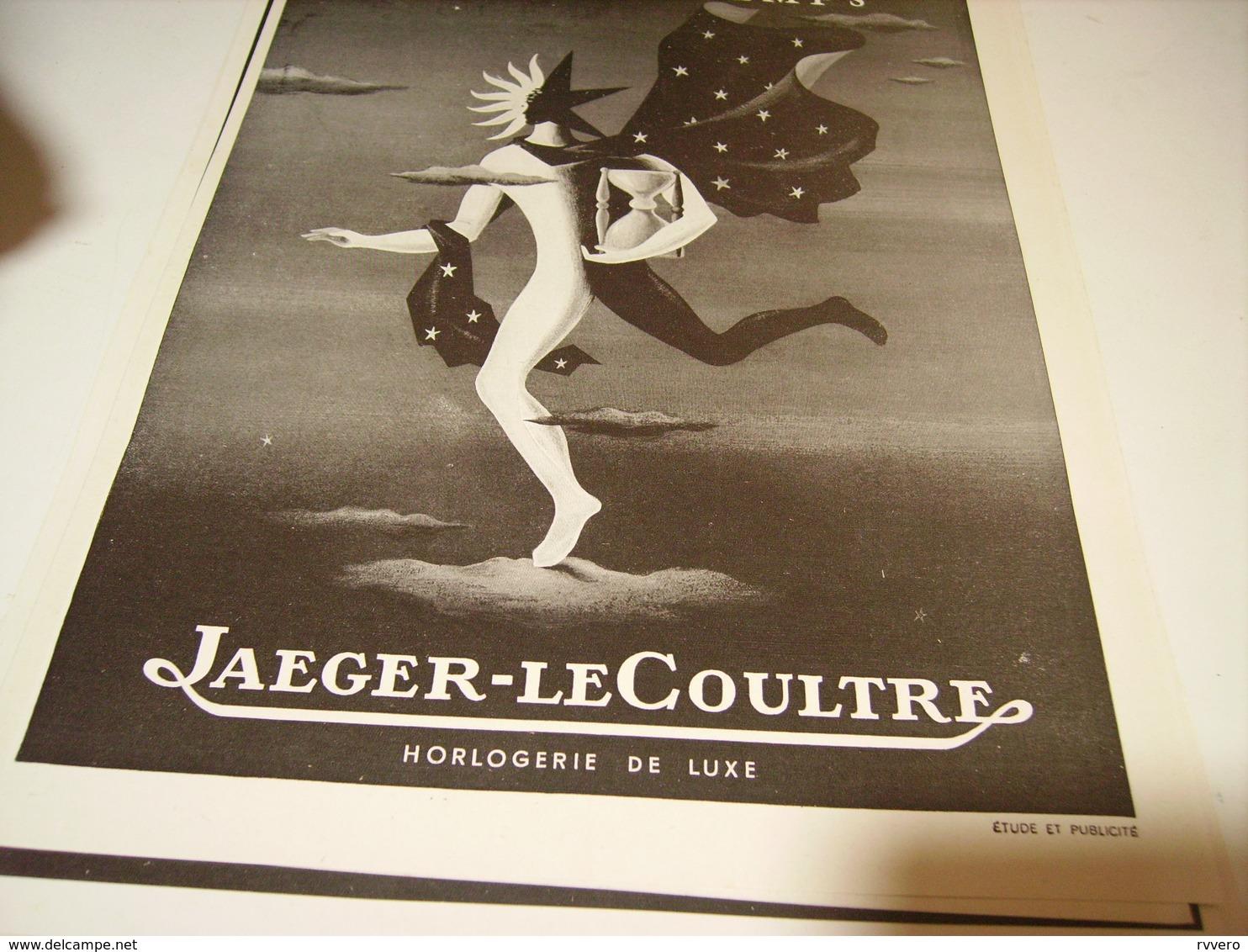 ANCIENNE PUBLICITE MONTRE ELOGE DU TEMP JAEGER LECOULTRE 1949 - Autres