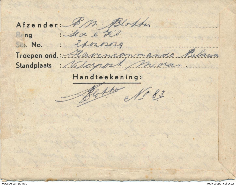 MEDAN / Ned. Indie - 20.XII.1911 (aber 1947 Geschrieben) , VELDPOST Aus Belawa / Sulawesi Si Selatan - Niederländisch-Indien