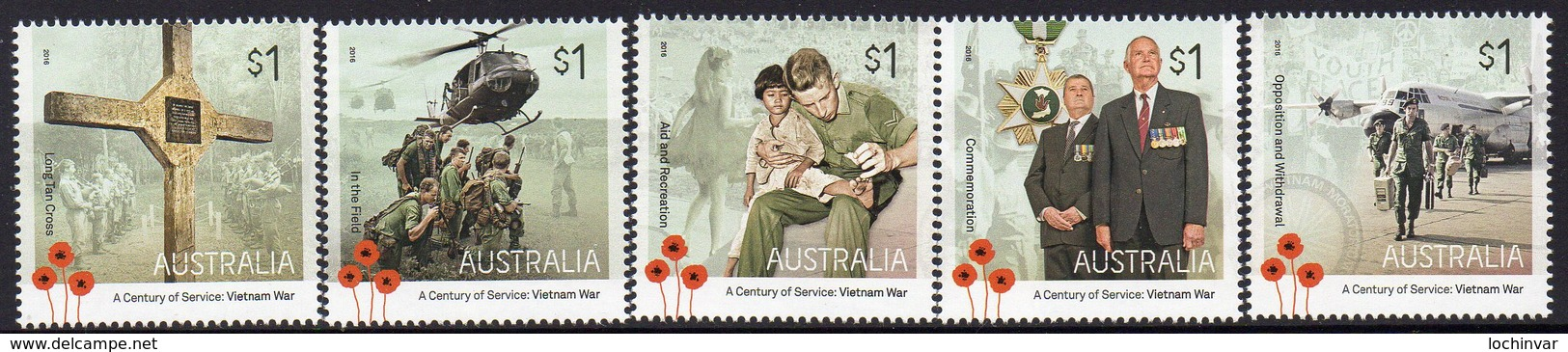 AUSTRALIA, 2016 VIETNAM WAR 5 MNH - Nuovi
