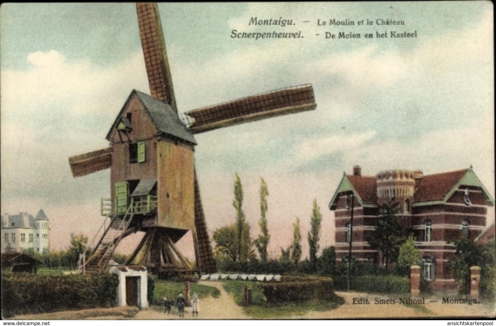 Cp Scherpenheuvel Zichem Flämisch Brabant, Windmühle Und Schloss - Otros