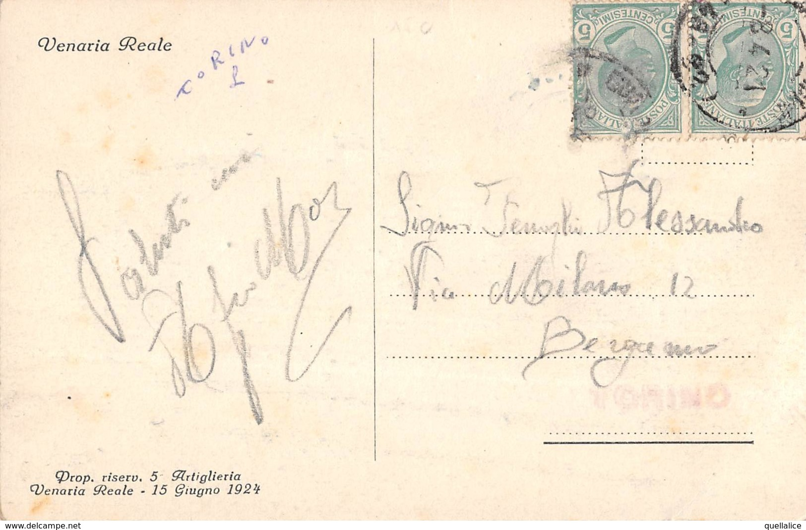 """0746 """"(TO) VENARIA REALE - GARE DI BATTERIA - ARRIVO DALLA MARCIA""""ANIMATA, MILITARI. CART SPED 1924 - Italie"""