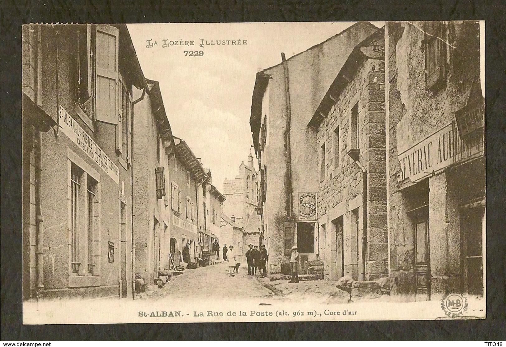 CP-Saint Alban - La Rue De La Poste - Saint Alban Sur Limagnole