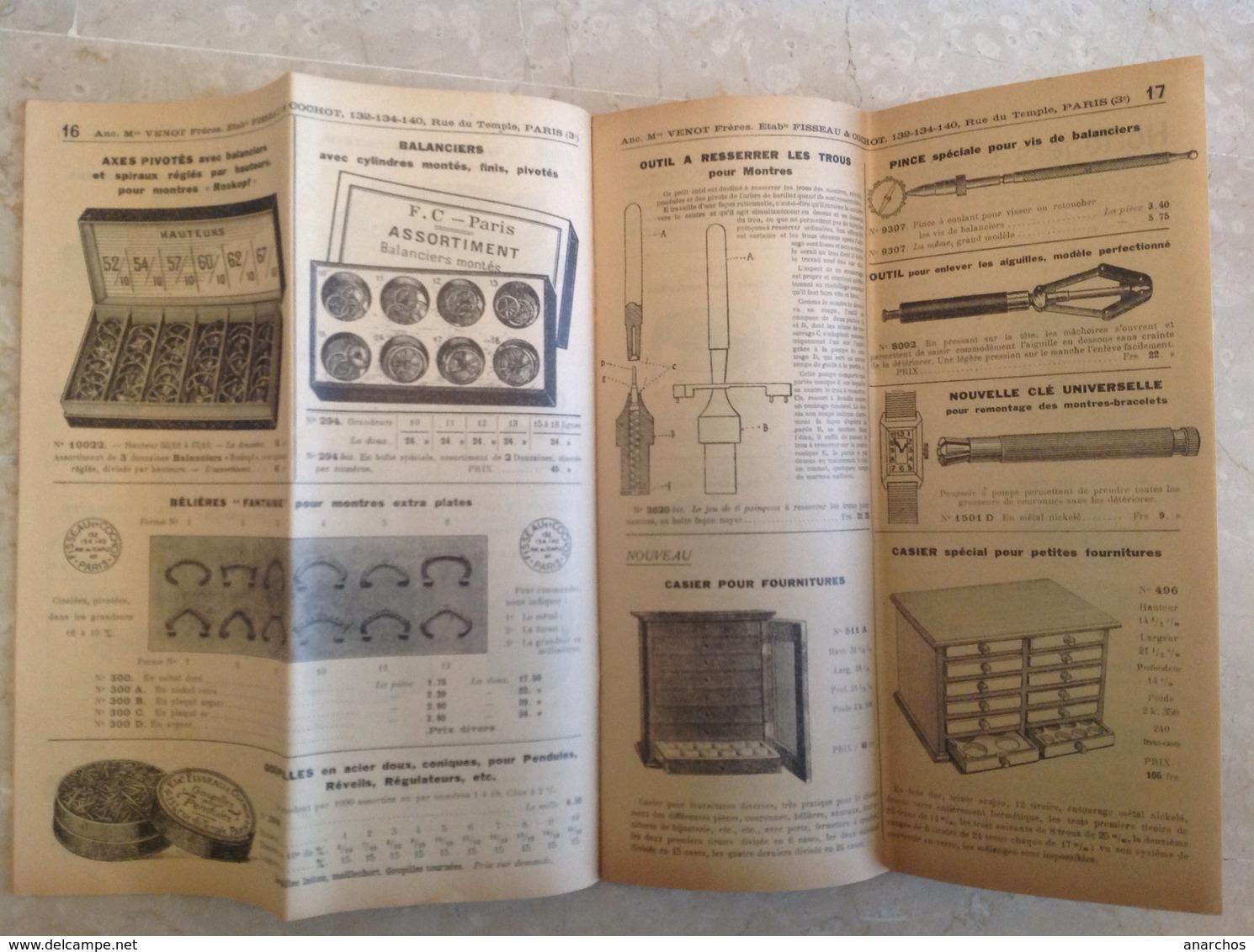 Catalogue De Fournitures Pour Montres Fisseau Cochot 1931 , 52 Pages - Autres