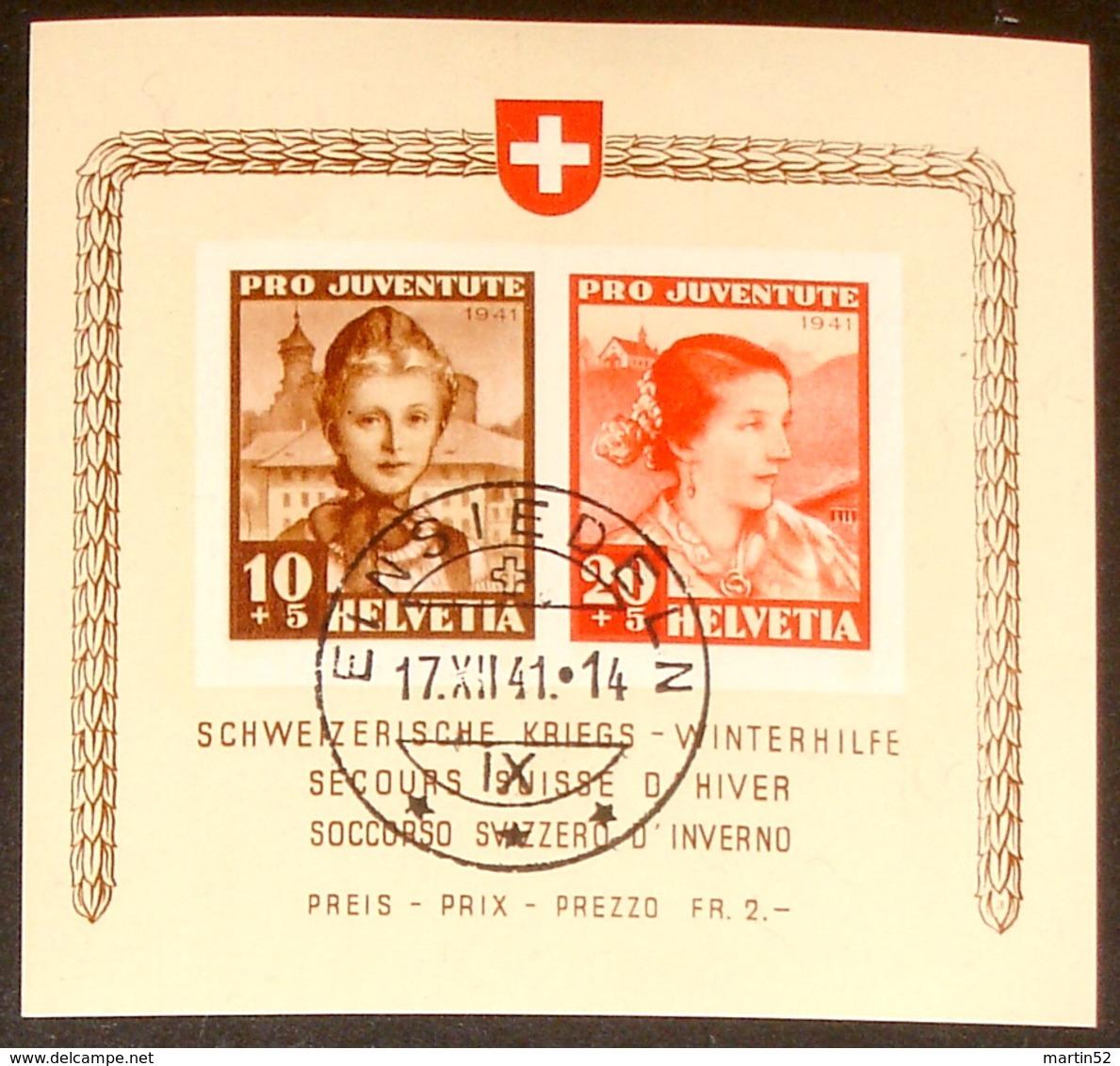 """Schweiz Suisse Pro Juventute 1941: """"Winterhilfe""""  Zu 98+99 I Mi Block 6 Yv BF 6 O EINSIEDELN 17.XII.41 (Zu CHF 500.00) - Blocs & Feuillets"""