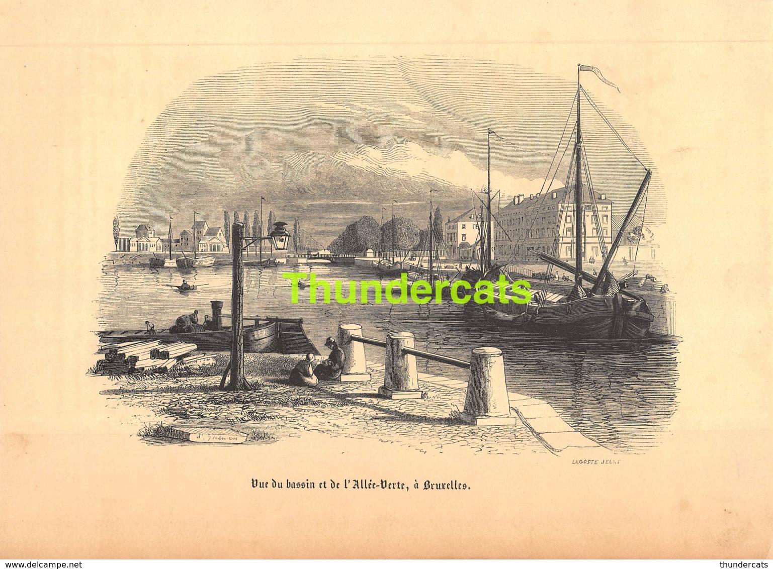 ANCIENNE COUPURE GRAVURE D'UN PUBLICATION DE 1844 OUD KNIPSEL UIT OUDE PUBLICATIE GHEMAR LACOSTE ALLEE VERTE BRUXELLES - Stampe & Incisioni