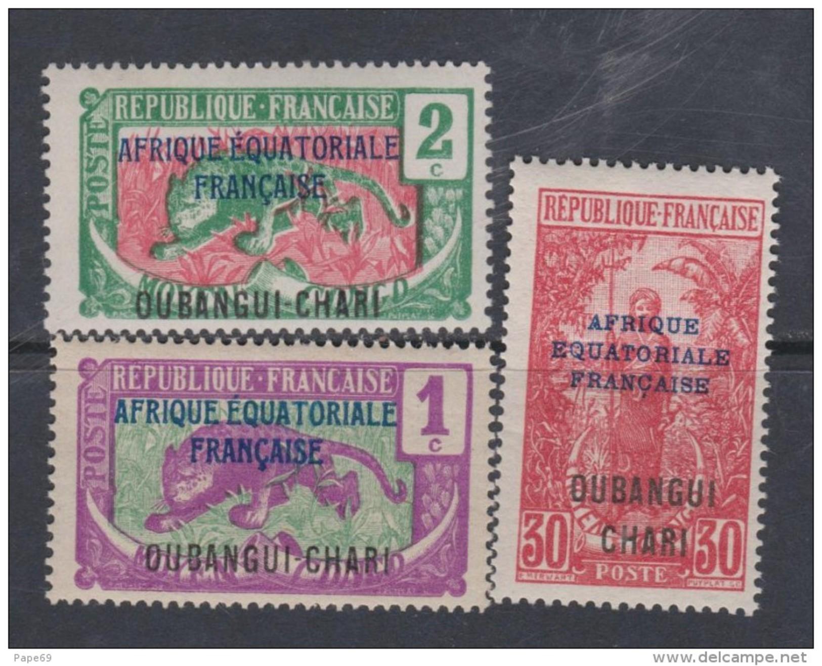 Oubangui N° 43 / 44 + 52  XX  Partie De Série : Les 3 Valeurs Sans Charnière, TB - Ungebraucht