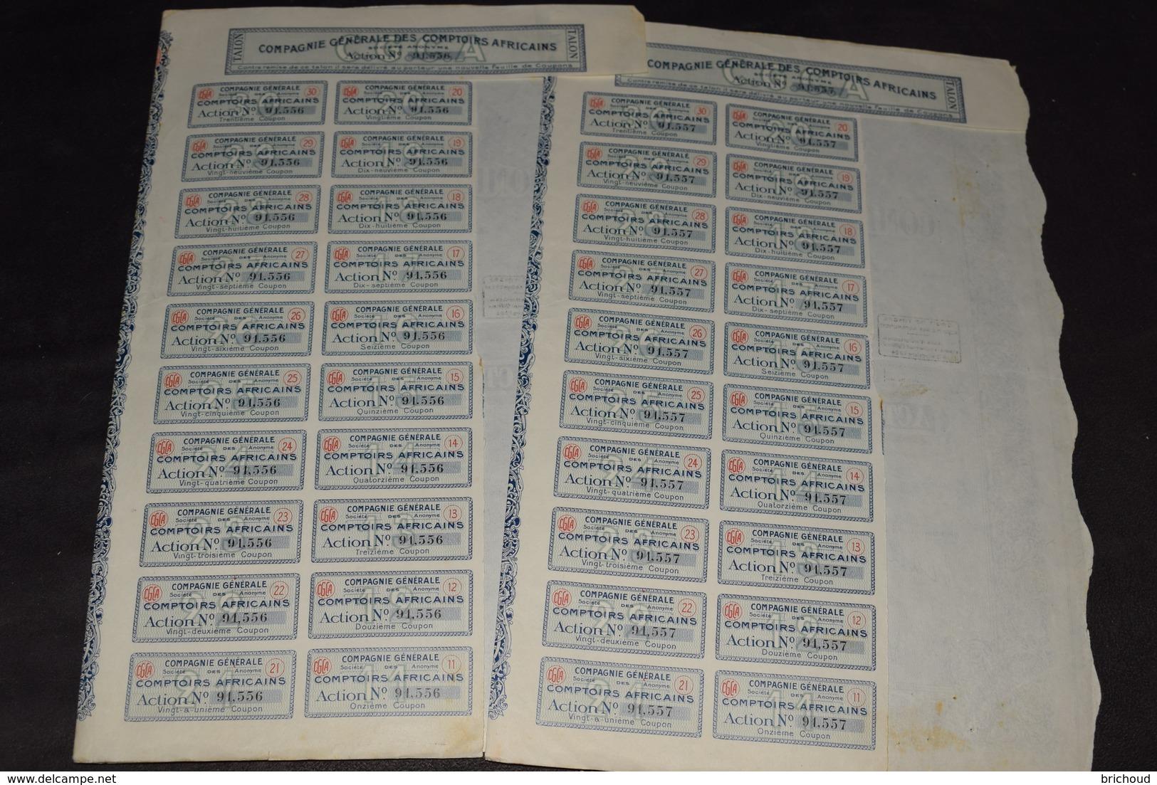 2 X 100 Frs Compagnie Générale Des Comptoirs Africains 10 000 000 Frs 1925 - Afrique