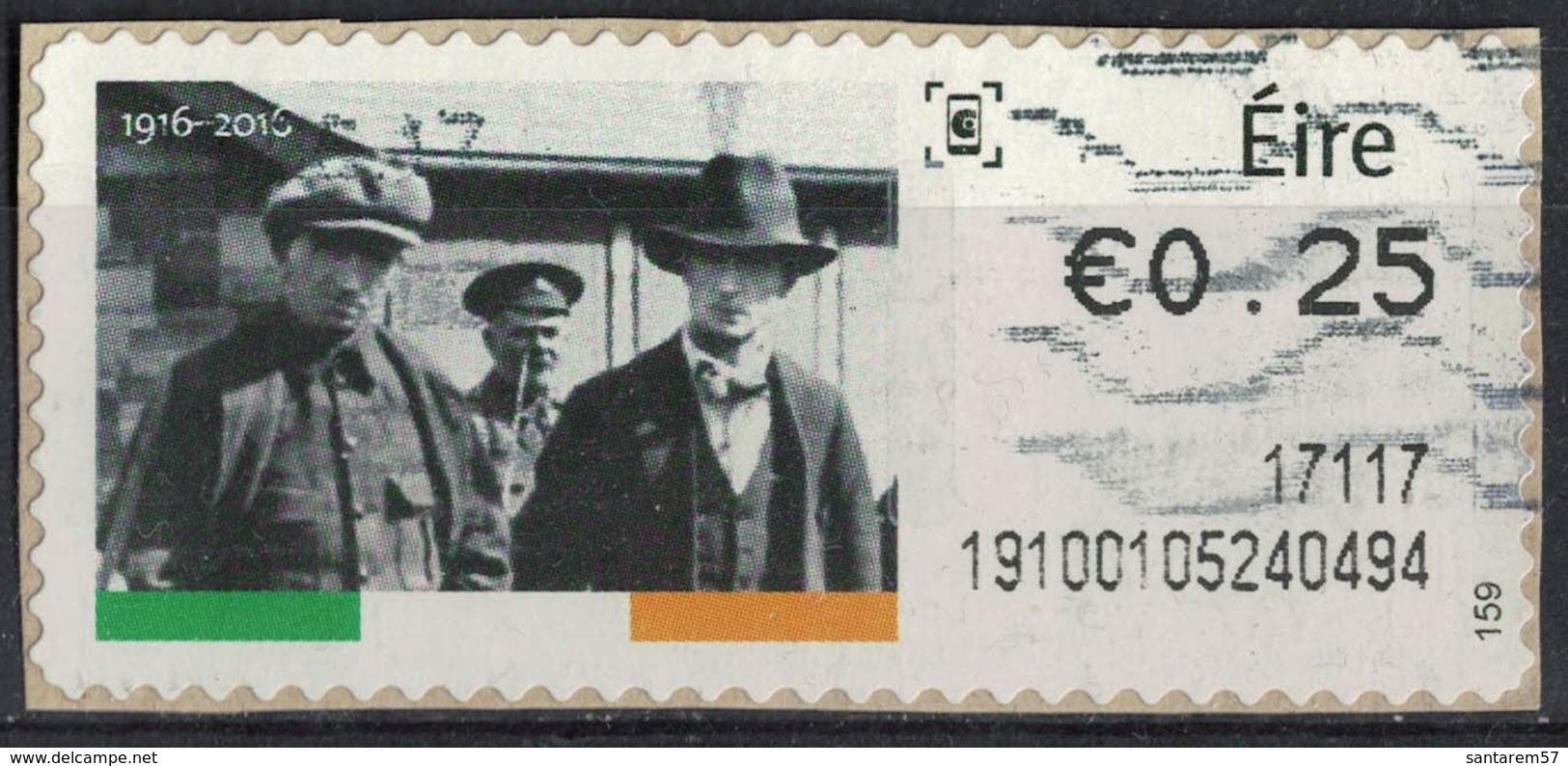 Irlande Vignette Oblitérée Deux Prisonniers Non Identifiés Sous Escorte Policière Insurrection De Pâques SU - Vignettes D'affranchissement (Frama)
