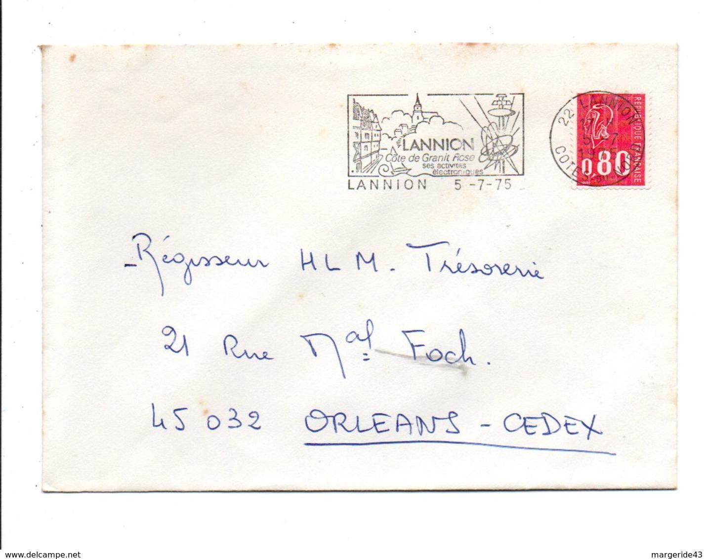 FLAMME DE LANNION COTES DU NORD 1975 - Marcophilie (Lettres)