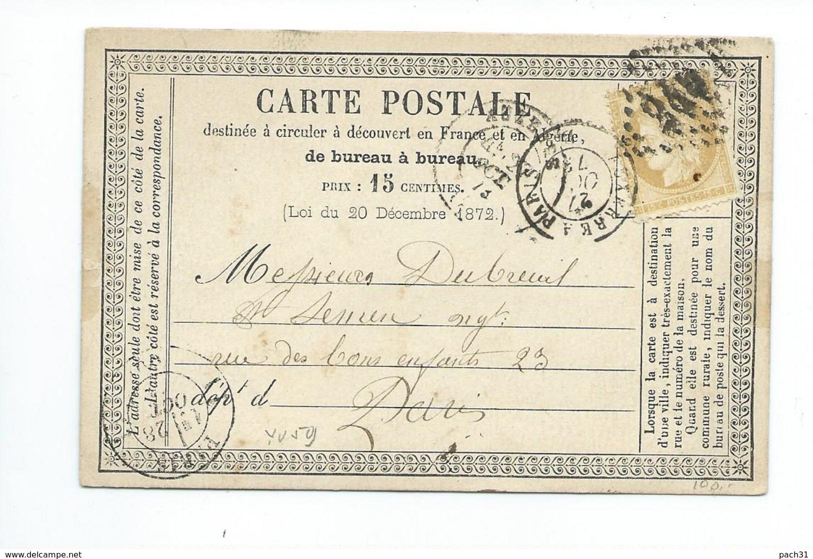 N° YT 55 Sur Carte Postale De Auxerre Pour Paris 1879 - Marcophilie (Lettres)
