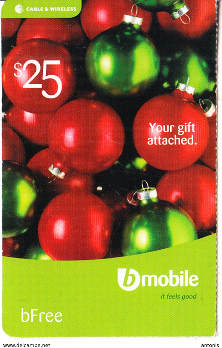 ST. VINCENT & THE GRENADINES - Christmas Balls, B Mobile By C&W Prepaid Card $25, Used - San Vicente Y Las Granadinas