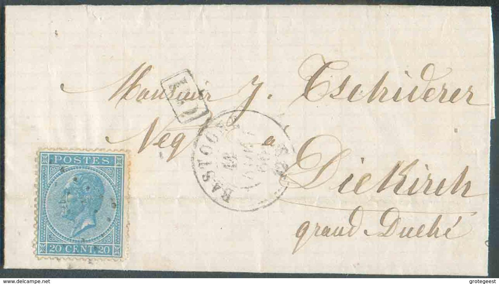 N°18 - LEOPOLD Ier 20 Centimes Bleu, Obl. LP.31 Sur Lettre Datée De ROLLE Via BASTOGNE Le 11 Novembre 1866 En Tarif Fron - 1865-1866 Profile Left