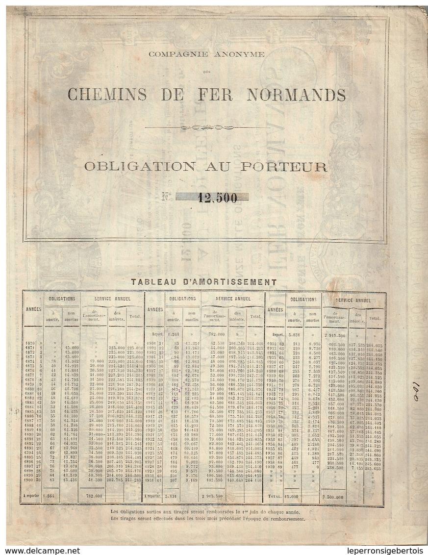 Obligation Ancienne - Compagnie Anonyme Des Chemins De Fer Normands - Titre De 1870 - Déco - Chemin De Fer & Tramway