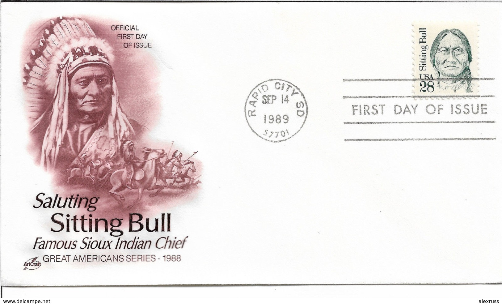 US FDC 1989 American Indians, Indian Chief Sitting Bull Cachet,VF-XF !! (RN-4) - American Indians