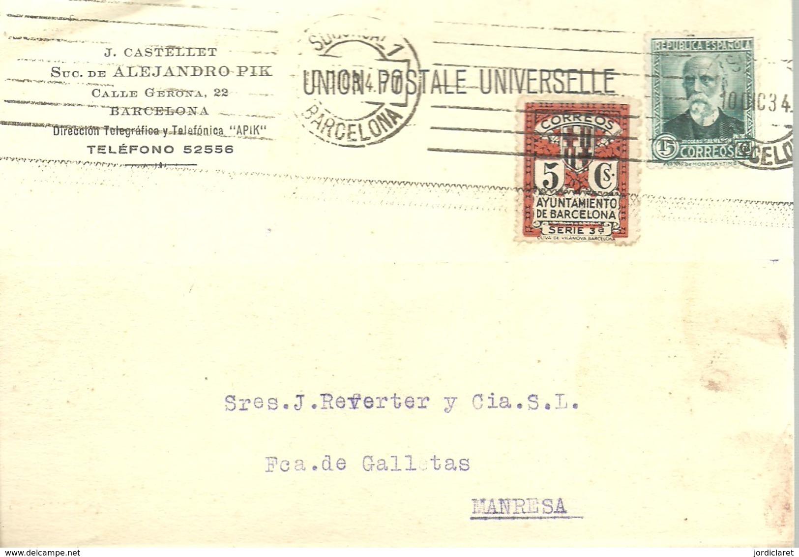TARJETA  1934 POSTAL  SELLO AYUNTAMIENTO - 1931-50 Cartas