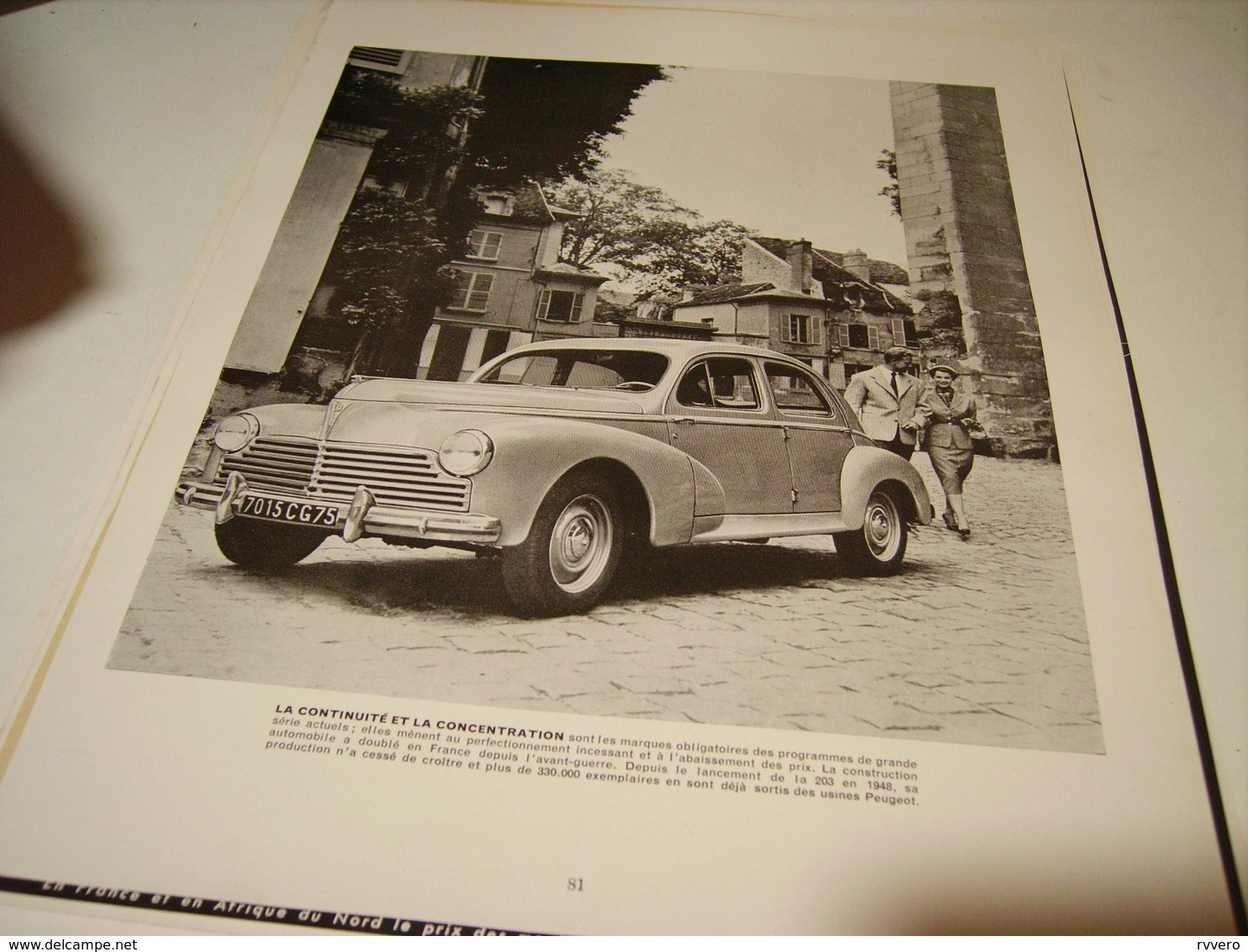 ANCIENNE PUBLICITE  LA 203 CONTINUE PEUGEOT 1954 - Publicités