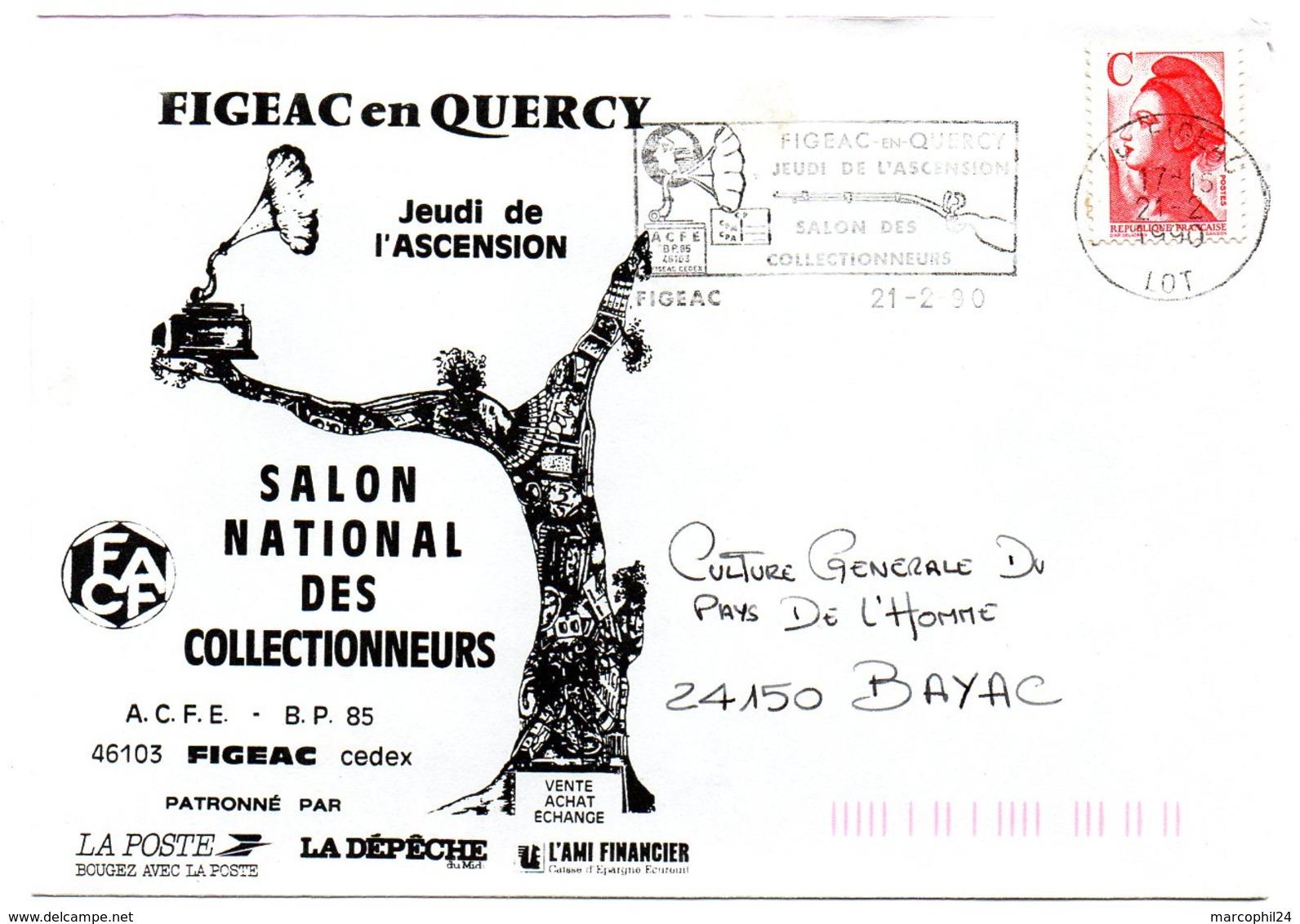 LOT - Dépt N° 46 = FIGEAC 1990 = FLAMME Type II = SECAP  Illustrée '  Jeudi De L'Ascension, Salon Des Collectionneurs  ' - Marcophilie (Lettres)