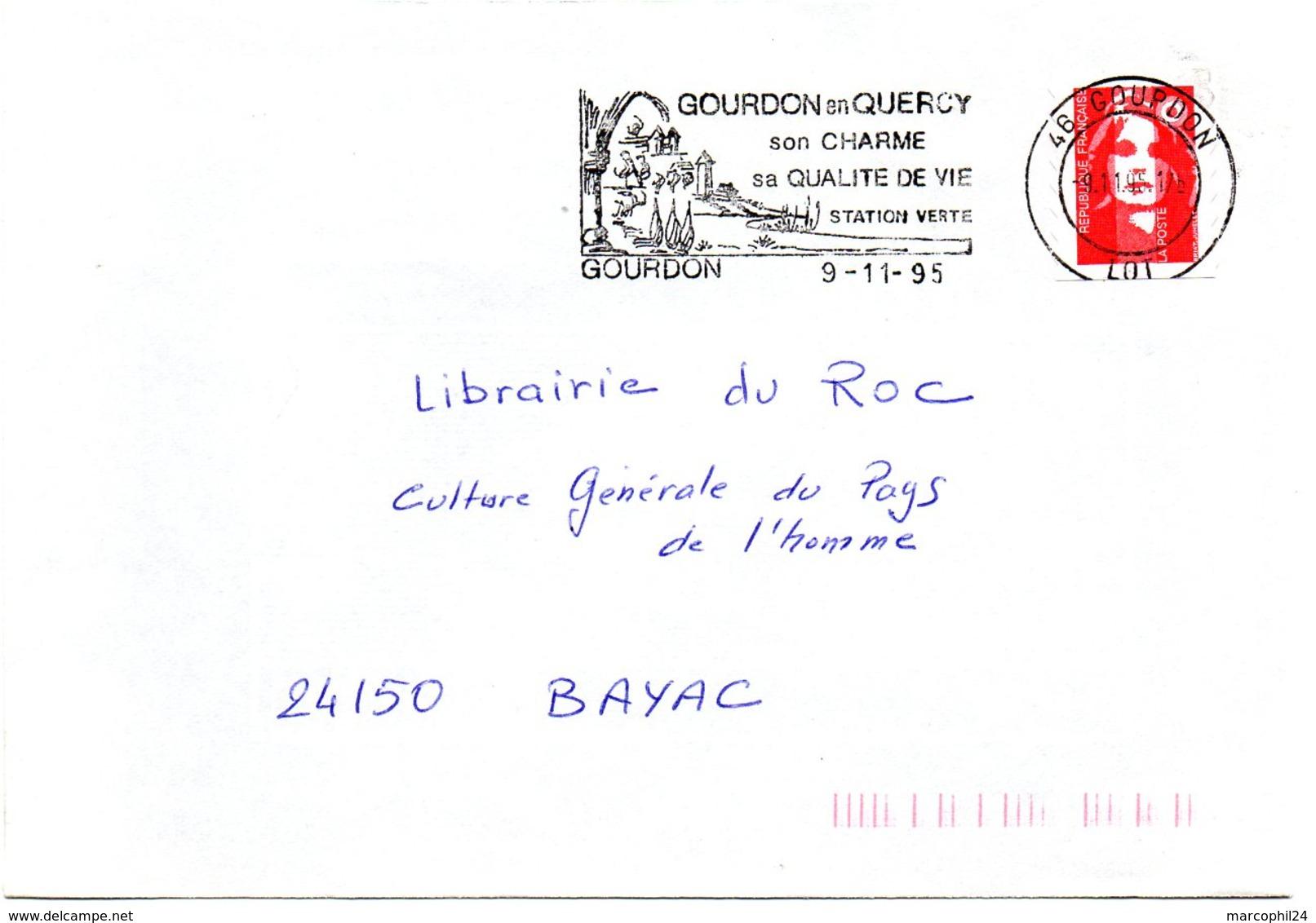 LOT - Dépt N° 46 = GOURDON 1995 = FLAMME Type II = SECAP  Illustrée ' En QUERCY / CHARME / QUALITE DE VIE ' - Marcophilie (Lettres)