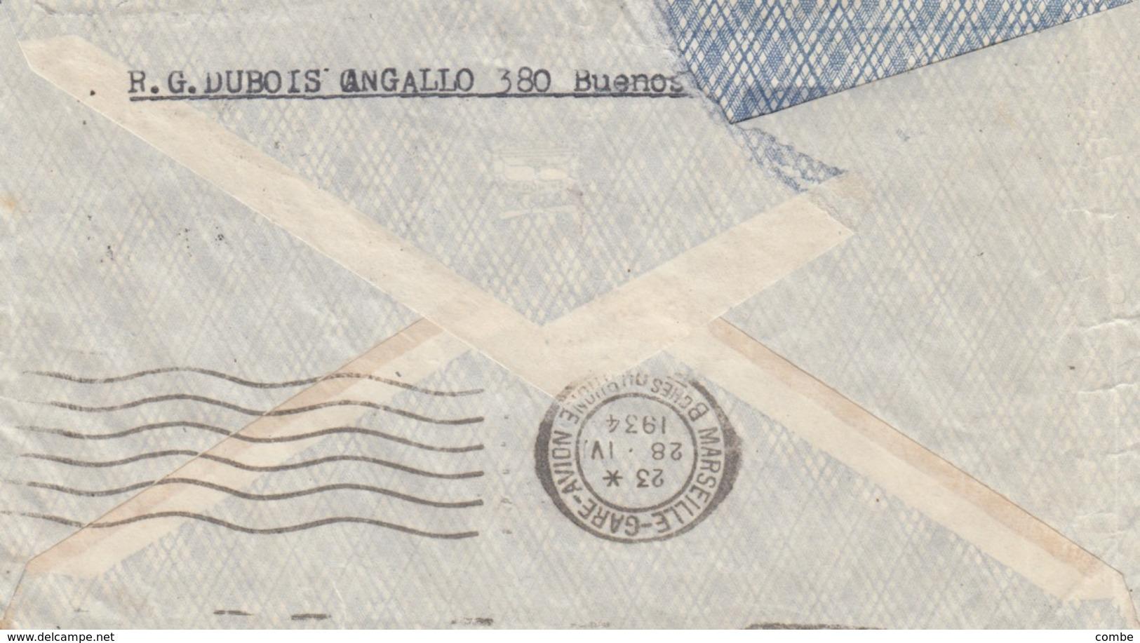 LETTRE. COVER. ARGENTINA. VIA AEREA. COMPAGNIE GENERALE AEROPOSTALE. 1934. BUENOS AIRES TO LYON FRANCE - Briefmarken