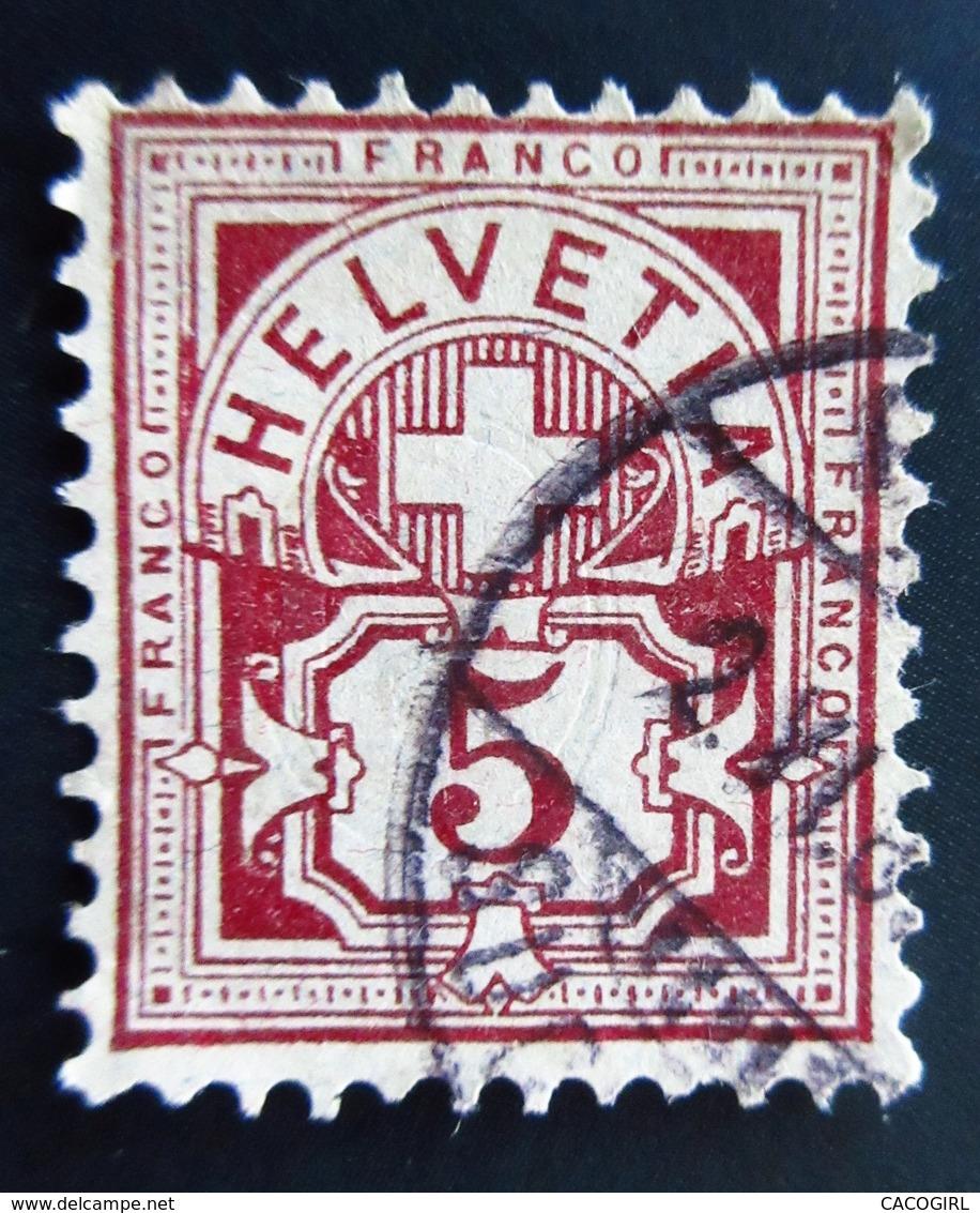 1882 Suisse Yt 59 , Zum 54 .  Cross Over Value Plate . Oblitéré - 1882-1906 Armoiries, Helvetia Debout & UPU