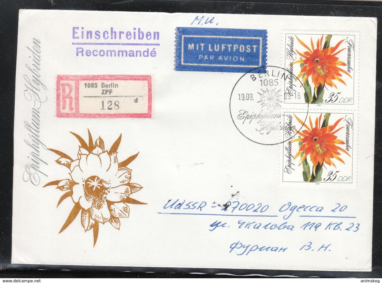 """DDR 1989, R-Brief """"Blattkaktuszüchtungen Mit 2xMiNr.  / GDR 1989, Registered Cover  """"Leaf Cactus Varieties"""" - Sukkulenten"""