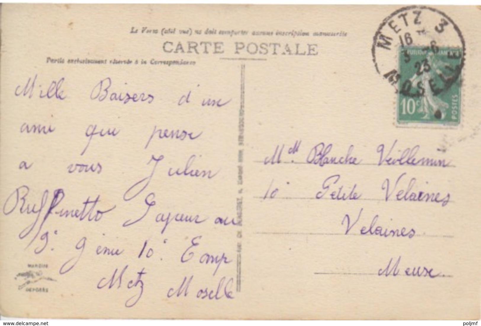 CP De Metz (cathédrale) (T201 Metz 3 Moselle) Sur TP Fr 10c Le 3/6/23 Pour Velaines - Postmark Collection (Covers)