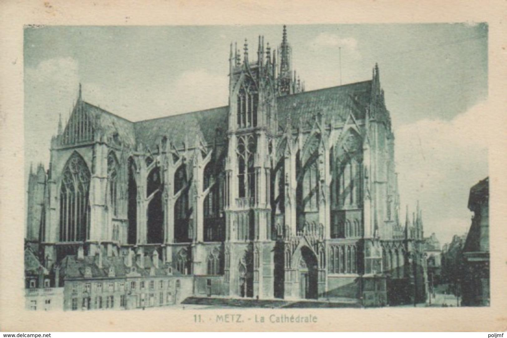 CP De Metz (cathédrale) (T201 Metz 3 Moselle) Sur TP Fr 10c Le 3/6/23 Pour Velaines - Marcofilie (Brieven)