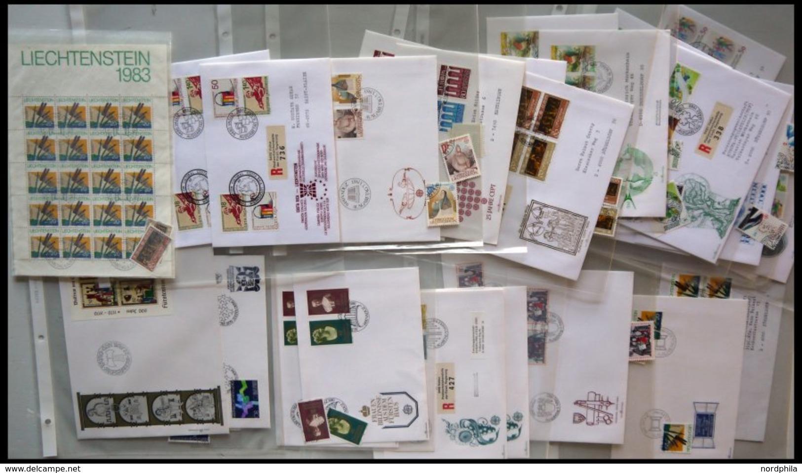 LOTS Brief,o , 1970-90, Partie Diverser Ausgaben, Fast Nur Auf FDC`s Und Einzelmarken, Pracht, Mi. 200.- - Liechtenstein