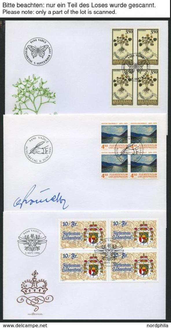 SAMMLUNGEN, LOTS VB BRIEF, 1994-96, Partie Verschiedener Kompletter Ausgaben, Je In Viererblocks, Auf FDC, Pracht, Mi. 3 - Liechtenstein