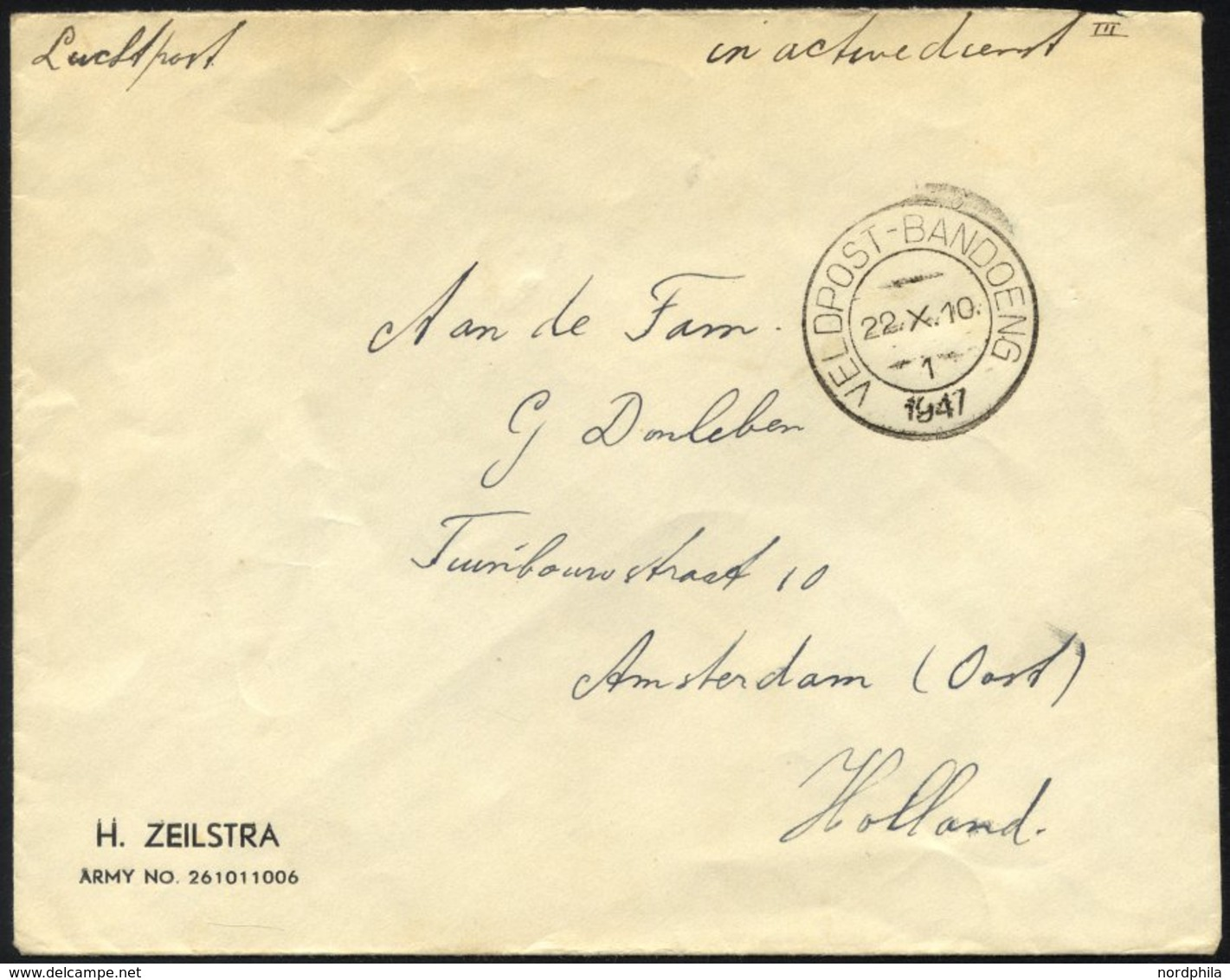 NIEDERLÄNDISCH-INDIEN 1947, K2 VELDPOST BANDOENG/1/1947 Und Handschriftlicher Vermerk In Active Dienst Auf Luft-Feldpost - Niederländisch-Indien