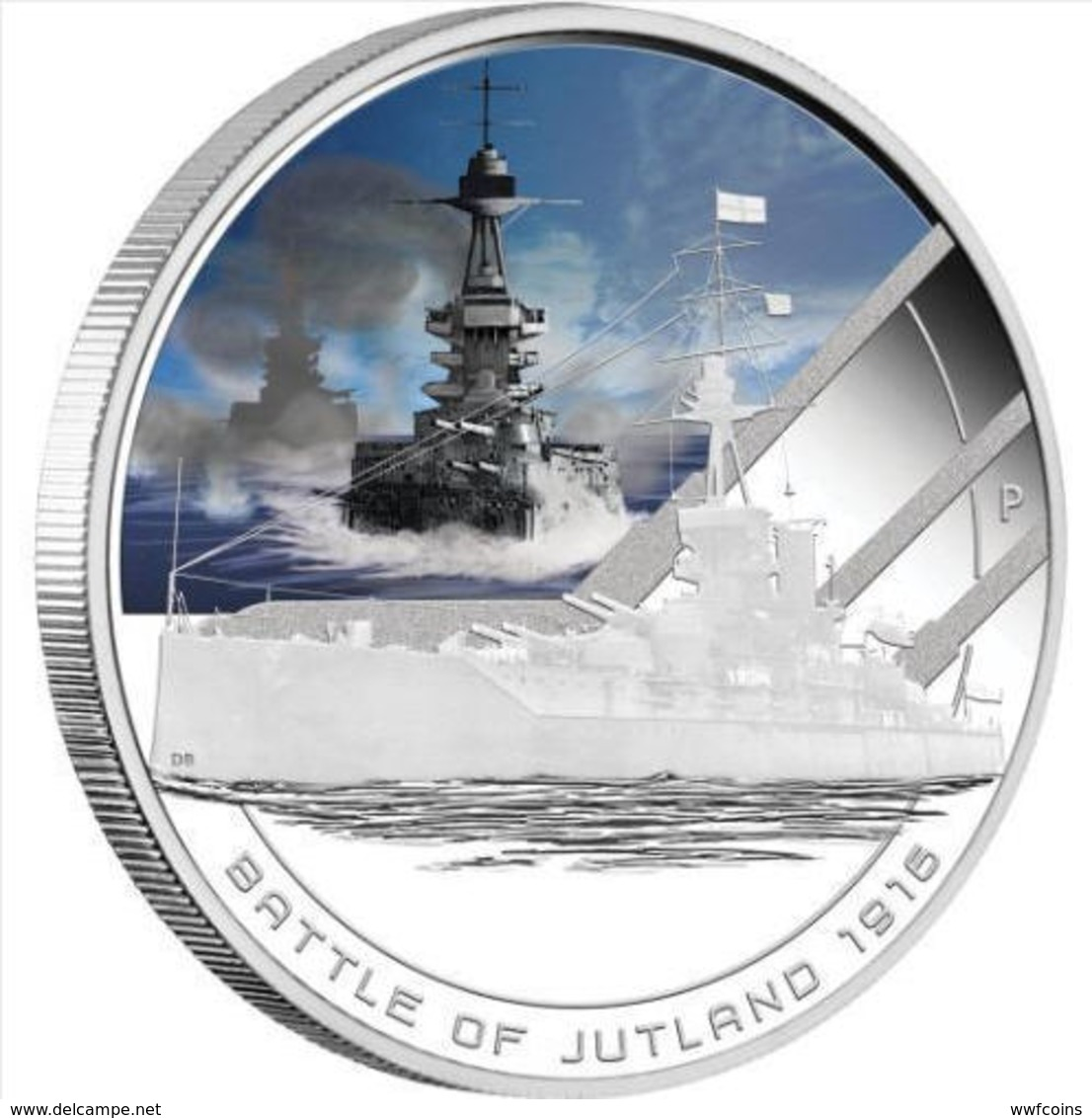 COOK ISLANDS 1 $ 2011 SILVER 999 Oz FAMOUS NAVAL BRITAIN'S BATTLESHIP JUTLAND 1916 WEIGHT 31,135g TITOLO 0,999 CONSERVAZ - Cook