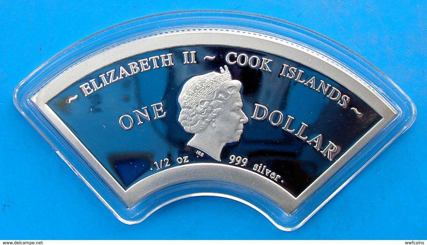 COOK ISLANDS 1 $ 2013 SILVER 999 FAN-SHAPED COBRA SNAKE SERPENTE CHINESE CALENDAR WEIGHT 15,5 TITOLO 0,999 CONSERVAZIONE - Cook