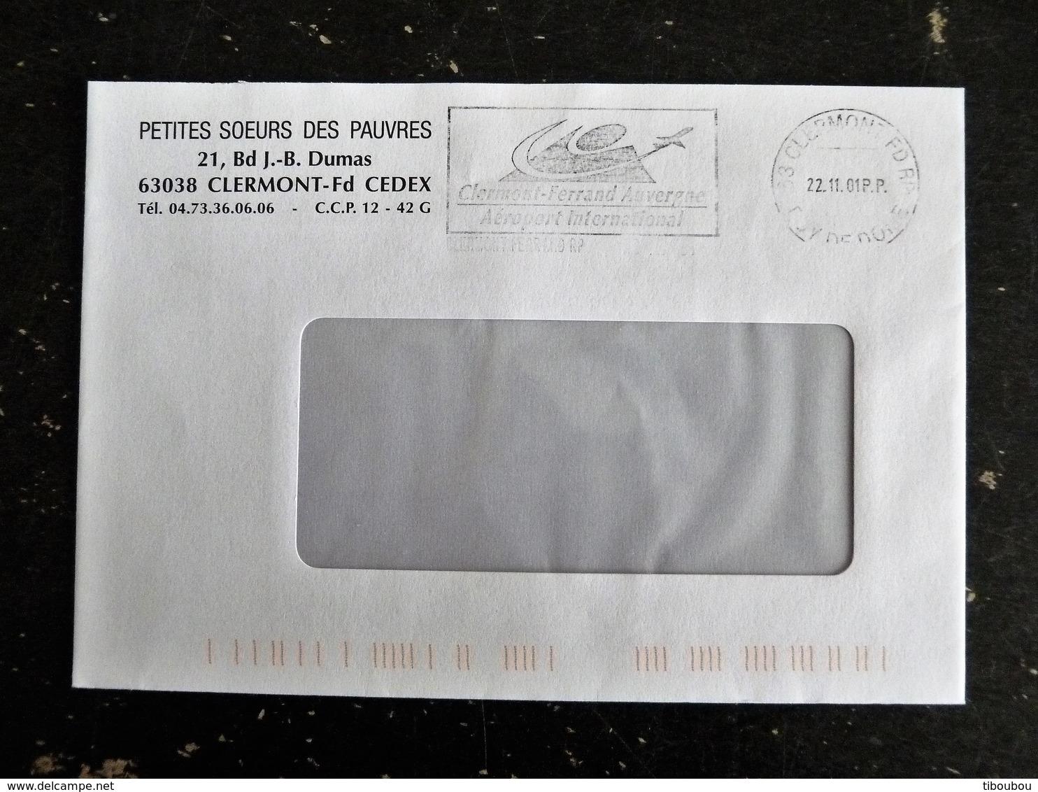 CLERMONT FERRAND RP - PUY DE DOME - FLAMME P.P. PORT PAYE AEROPORT INTERNATIONAL - Marcophilie (Lettres)