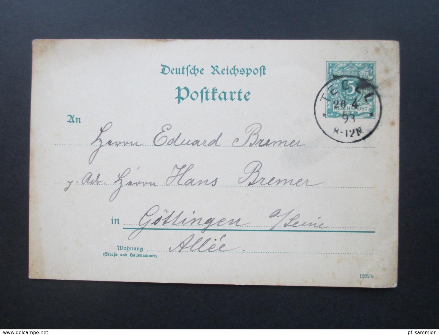 Deutsches Reich 20.4..1893 Ganzsache Stempel K1 Tegel Nach Göttingen Gesendet! - Allemagne