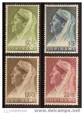 Suriname NVPH Nr 175/178 Ongebruikt (MLH, Neuf Avec Charniere) Queen Wilhelmina, Dutch Royal Family - Suriname ... - 1975