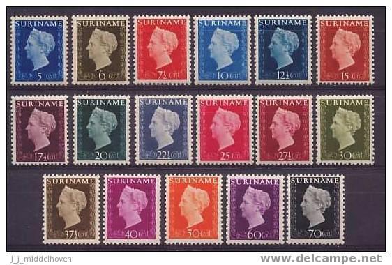Suriname NVPH Nr 257/273 Ongebruikt (MLH, Neuf Avec Charniere) Dutch Royal Family, Queen Wilhelmina - Suriname ... - 1975