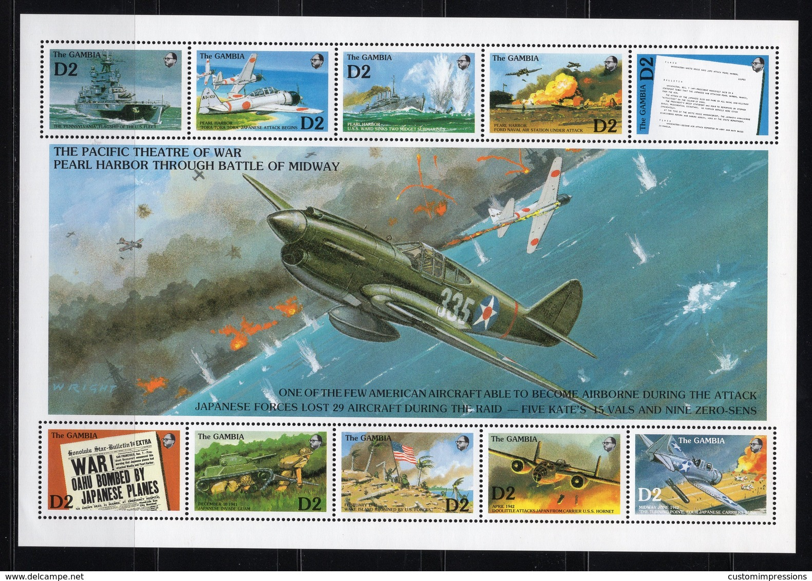 GAMBIA - 1992 The 50th Anniversary Of Japanese Attack On Pearl Harbor   M564 - Gambia (1965-...)