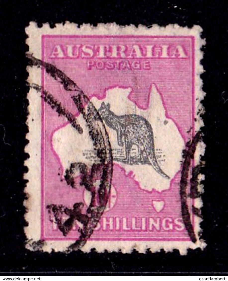 Australia 1918 Kangaroo 10/- Grey & Intense Analine Pink 3rd Wmk Used - Listed Variety - Used Stamps