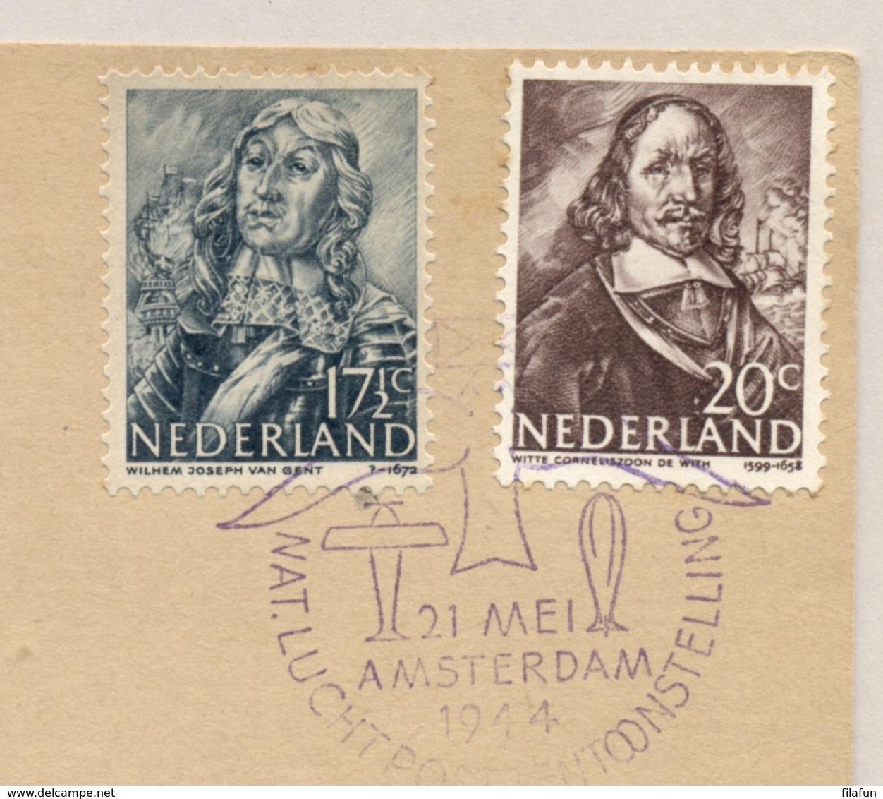 Nederland - 1944 - 17,5 En 20 Cent Zeehelden Op Speciale Kaart Luchtposttentoonstelling - Periode 1891-1948 (Wilhelmina)