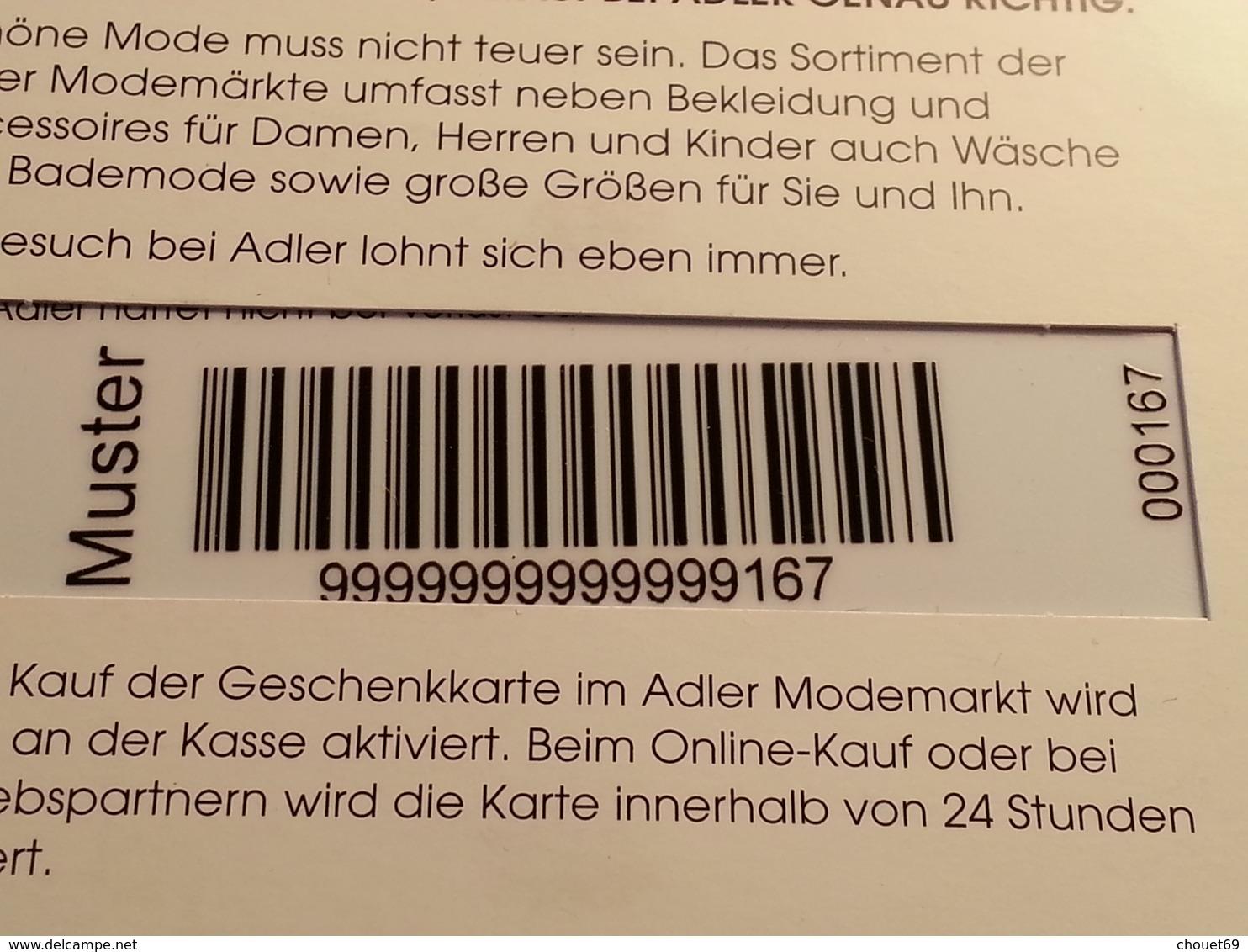 GERMANY - ADLER - MUSTER 25 Euros - DEMO TEST TRIAL CADEAU GIFT CARD (SACROC) - Gift Cards