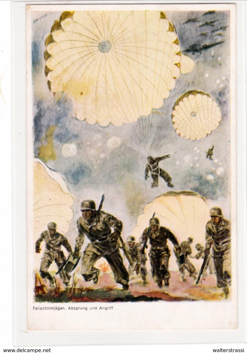 Propaganda Karte, Fallschirmjäger - Weltkrieg 1939-45