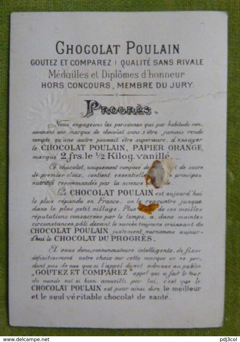 Chromo Gaufrée, Tête D'ange Sous Une Guirlandes De Fleurs - Poulain