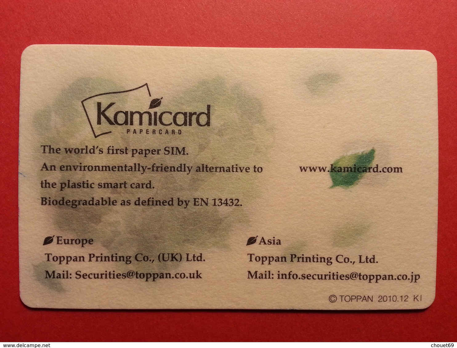 Japon - MUSTER Coeur TOPPAN Paper GSM SIM Kamicard Mint DEMO TEST TRIAL (SACROC) - Japon